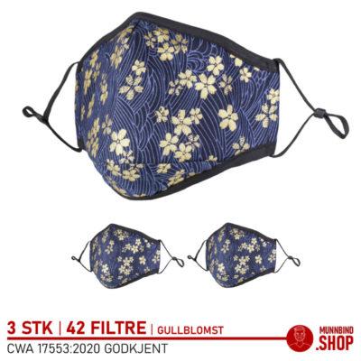Tøymunnbind gullblomst mønster 3-pack