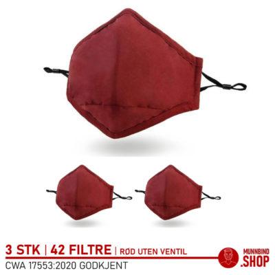 Tøymunnbind rød 3-pack