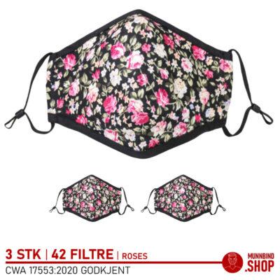 Tøymunnbind rose mønster - 3-pack