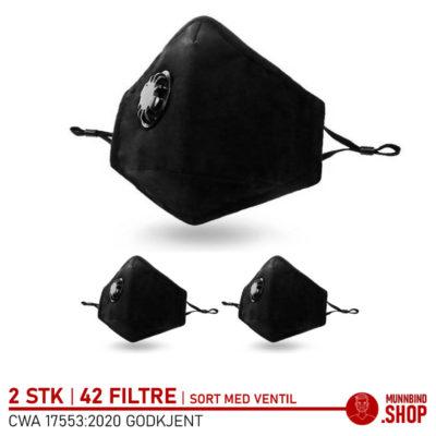 Tøymunnbind sort extra large med ventil 3-pack