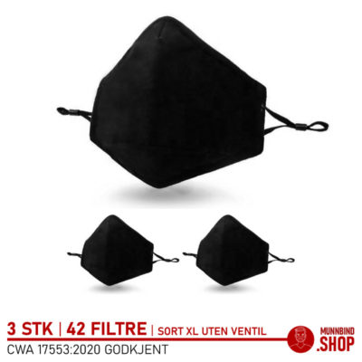 Tøymunnbind sort extra large uten ventil 3-pack