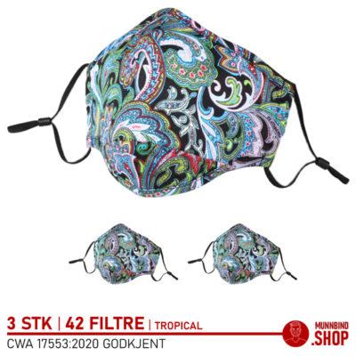 Tøymunnbind tropisk grønn 3-pack