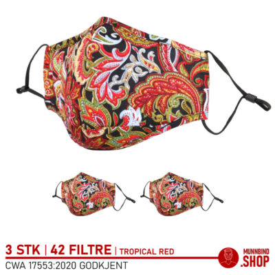 Tøymunnbind tropisk rød mønster 3-pack