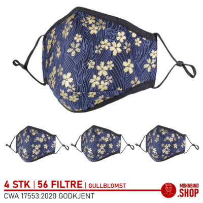 Tøymunnbind gullblomst mønster 4-pack