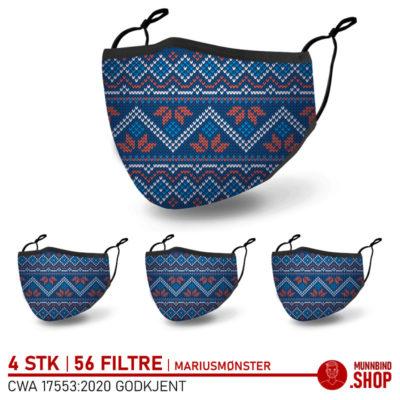 Tøymunnbind norsk design marius mønster 3-pack