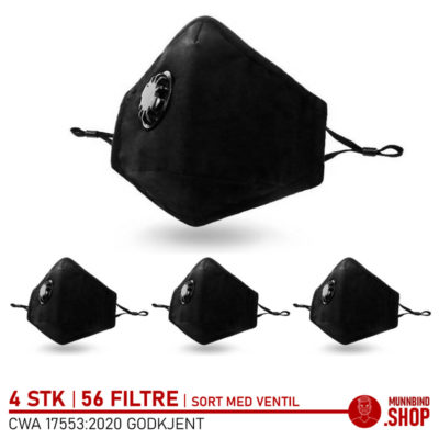 Tøymunnbind sort med ventil 4-pack