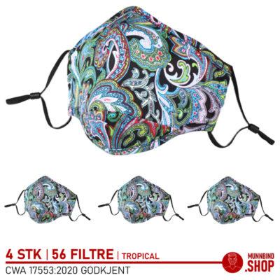 Tøymunnbind tropisk mønster grønn 4-pack