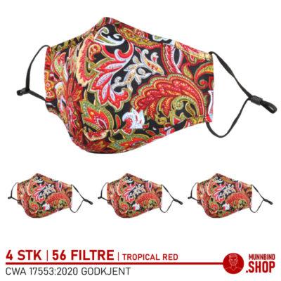 Tøymunnbind tropisk rød mønster 4-pack